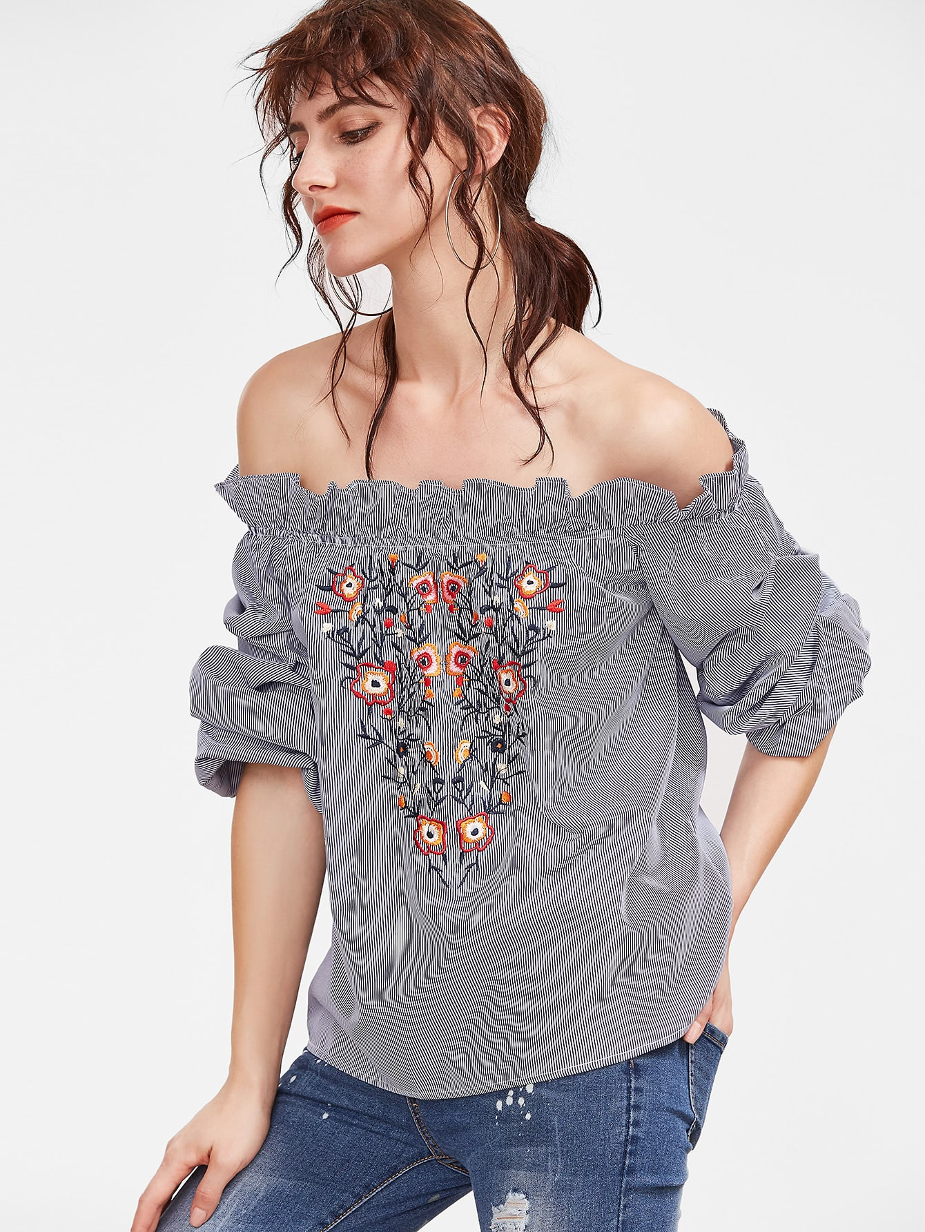 Navy Striped Flower Embroidered Off The Shoulder Top