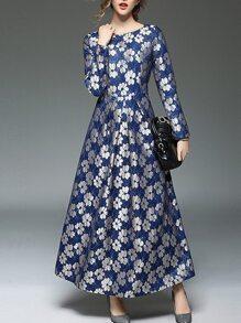 Vestido Maxi Jacquard estampado de flores-azul