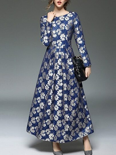 Blue Flowers Jacquard Maxi Dress