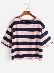 Contrast Striped Drop Shoulder T-shirt
