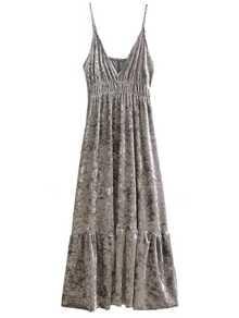 Silver V Neck Velvet Midi Cami Dress