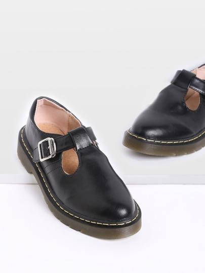 Black Mary Jane PU Flats