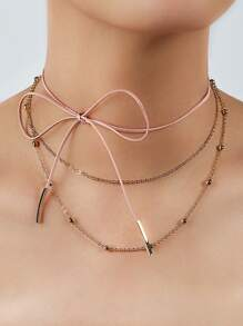 Leather Bow Wrap & Chain Bead Necklace Set PINK