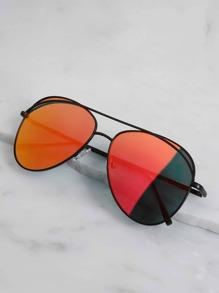 Mirror Aviator Sunglasses RED ORANGE