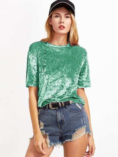 camicia di velluto manica corta - Verde immagini