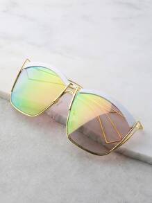 Contrast Curve Square Sunglasses IRIDESCENT