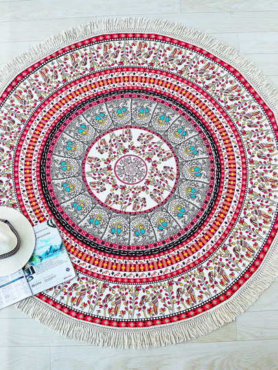 Multicolor Bird Print Fringe Trim Round Beach Blanket
