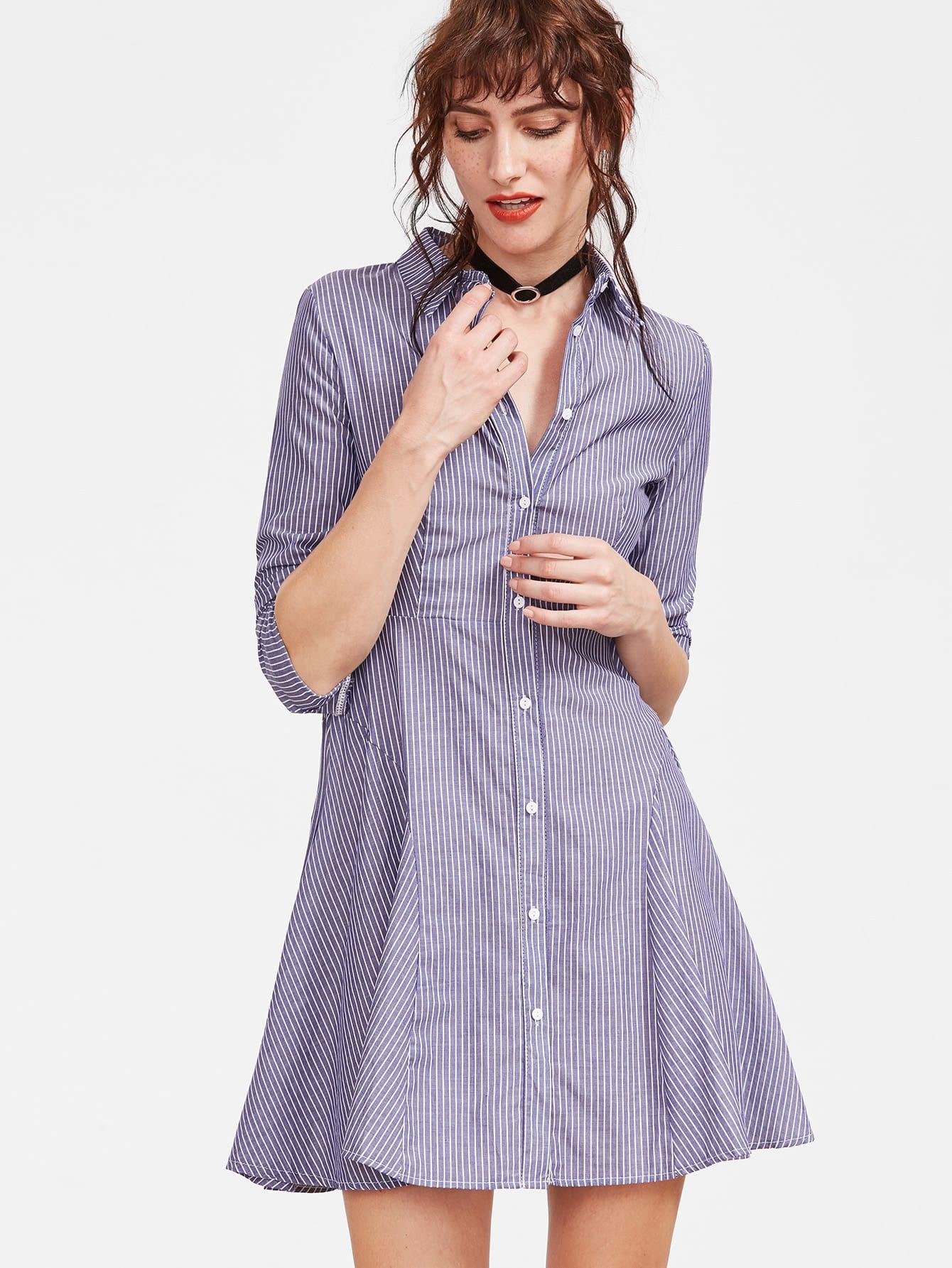 Blue vertical striped shirt dress shein sheinside for Vertical striped dress shirt