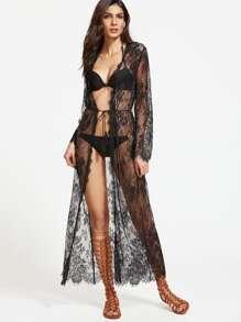 Sheer Drawstring Lace Kimono