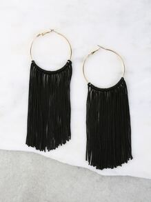 Metallic Hoop Tassel Earrings BLACK