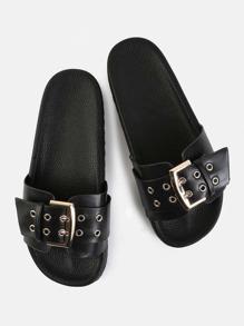 Chunky Buckle Slide Sandals BLACK