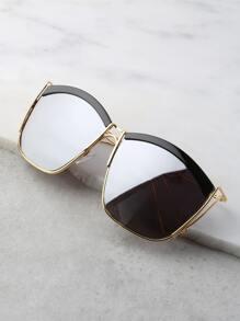 Mirrored Curve Square Sunglasses BLACK SILVER