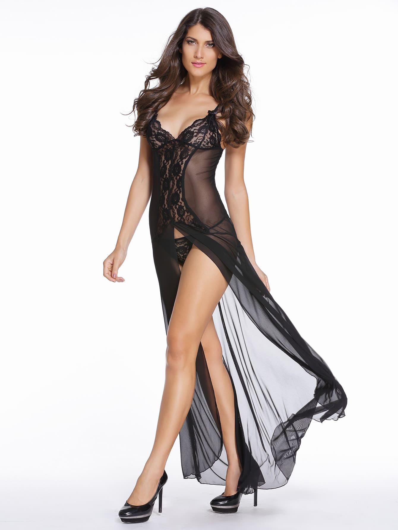 Black Lace Insert Slit Maxi Slip Dress