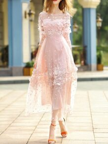 Pink Contrast Crochet Gauze Maxi Dress