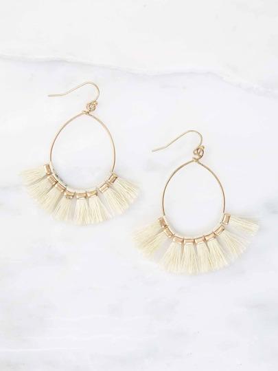 Teardrop Tassel Earrings IVORY