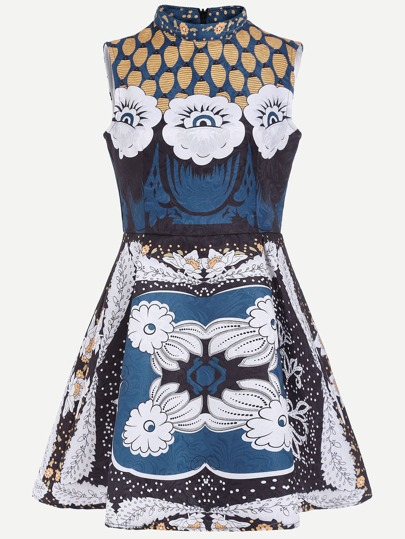 Multicolor Flower Print Jacquard Structured Skater Dress