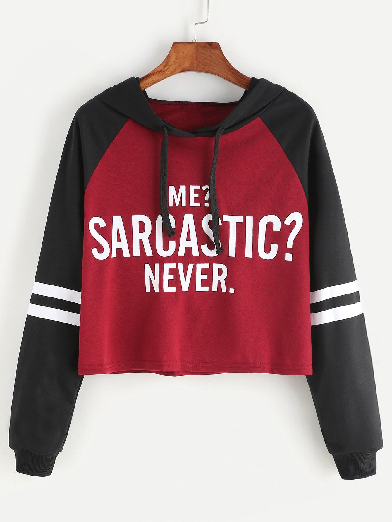Contrast Raglan Sleeve Hooded Slogan Print Crop Sweatshirt sweatshirt170215102