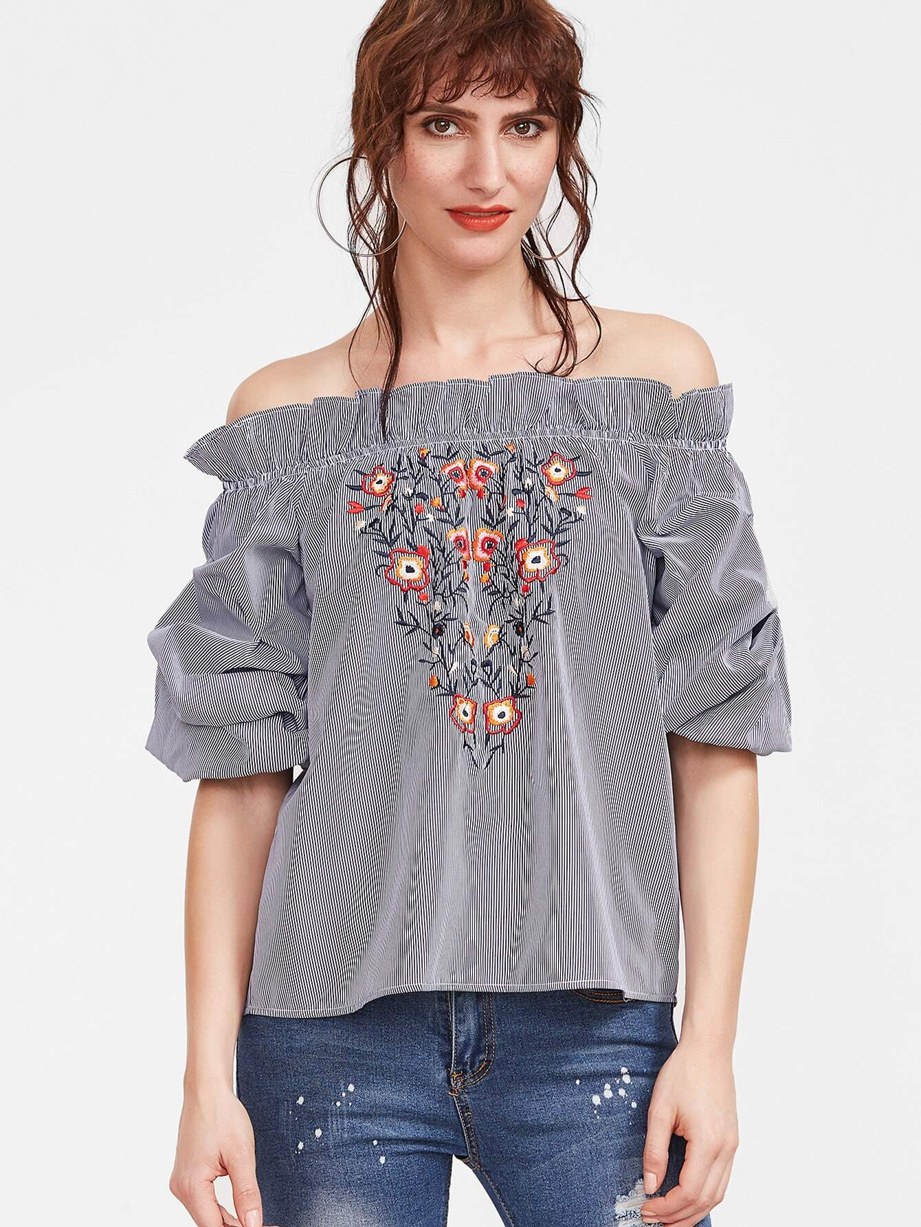Navy Striped Flower Embroidered Off The Shoulder Top -SheIn(Sheinside)