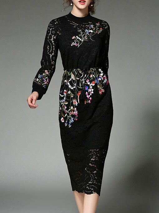 Фото Black Flowers Embroidered Lace Sheath Dress. Купить с доставкой