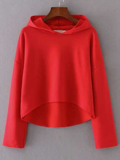 Drop Shoulder Seam High Low Hooded Sweatshirt