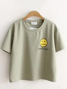 grüne emoji und schreiben print - t - shirt