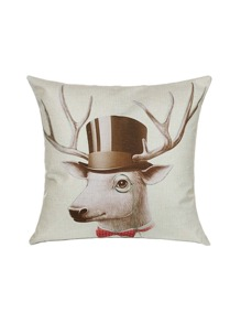 White Deer With Hat Print Linen Cushion Cover