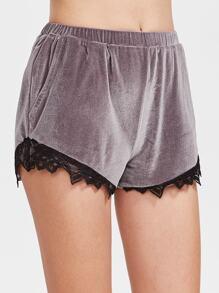 pantalones cortos de terciopelo púrpura con elástico en la cintura