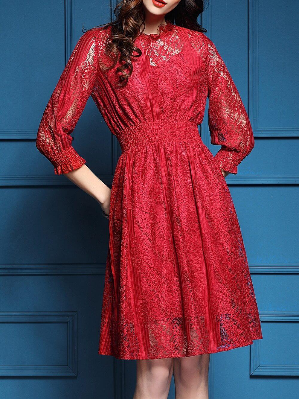 Фото Red Elastic-Waist Mesh Lace Dress. Купить с доставкой