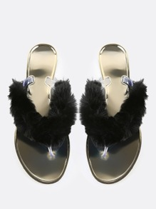 Fur Thong Sandals BLACK
