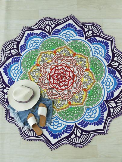 Mandala Print Pom Pom Trim Beach Blanket