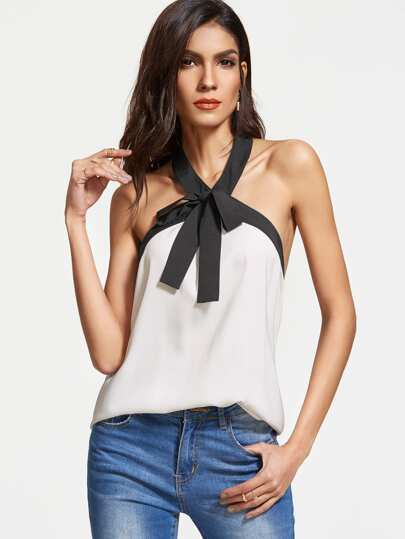 White Contrast Bow Tie Halter Neck Top