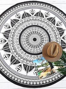 imprimer en noir et blanc de plage ronde tribales vintage de couverture