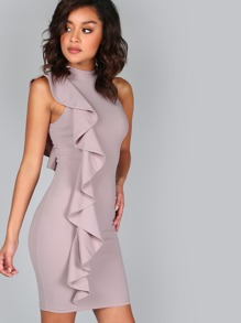 Sleeveless One Sided Ruffle Dress LAVENDER