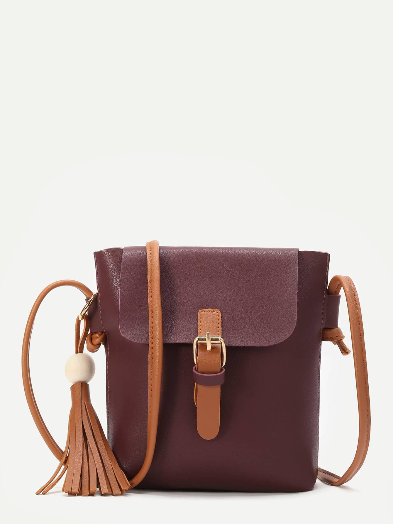 Фото Burgundy Buckle PU Shoulder Bag With Contrast Strap. Купить с доставкой
