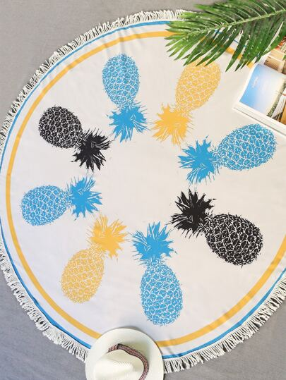 Pineapple Print Fringe Trim Round Beach Blanket