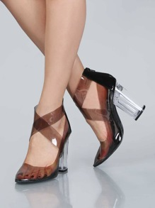 Transparent Criss Cross Perspex Heels GREY