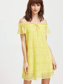 Yellow Off The Shoulder Tie Front Embroidered Lace Dress