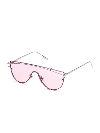 Pink Clear Lens Metal Frame Curved Sunglasses