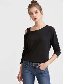 Black Asymmetric Cold Shoulder T-shirt