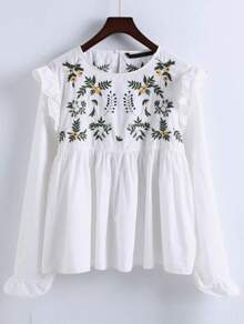 White Embroidery Ruffle Trim Pleated Blouse