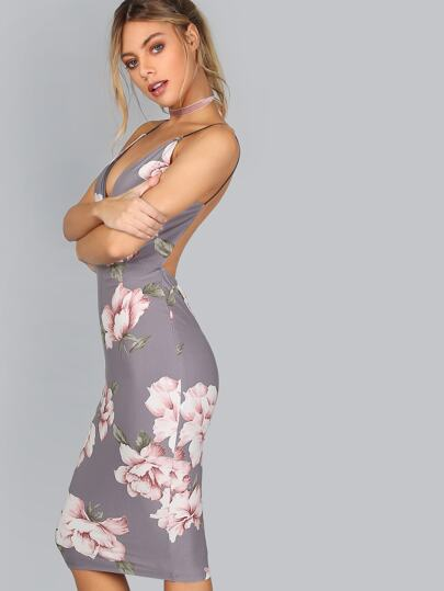 Plunge V Neckline Floral Backless Knee Length Dress