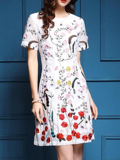 White Flowers Embroidered A-Line Dress