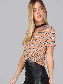 Striped Cut Out T-Shirt ORANGE MULTI