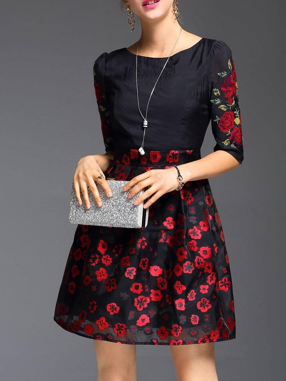 Фото Black Flowers Embroidered A-Line Dress. Купить с доставкой