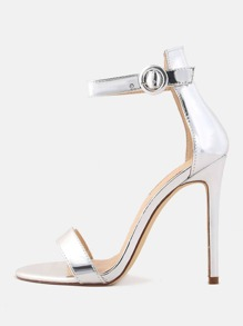 Metallic Stiletto Single Sole Heels SILVER