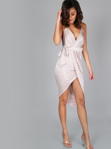 High Low A-Line Wrap Dress BLUSH