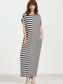 Mixed Stripe Full Length Dress