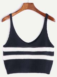 Navy Striped Mixed Knit Tank Top