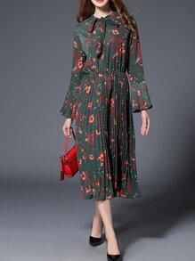 Dark Green Tie Neck Floral Pleated Dress