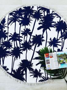 Navy Coconut Tree Print Fringe Trim Round Beach Blanket